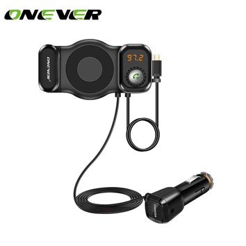 ONEVER T15 2 in 1 FM Transmitter Smart Phone Holder Bluetooth Car Kit MP3 Player Modulator with USB Car Charger Support Siri