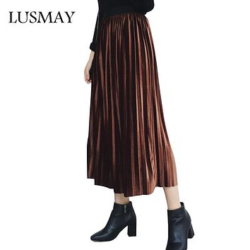 Casual Pleated Skirts Womens Autumn 2017 New Arrival Fashion Long Skirt Velvet High Waist Elastic Solid Women Skirt Black Gray