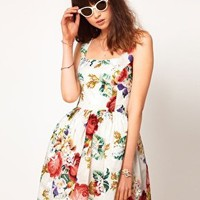 ASOS Dolly Skater Dress With Floral Print And Embroidery at asos.com