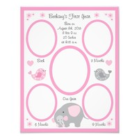 Pink Elephant Baby Girl Birth Stats First Year Photo Print