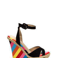 Cut-Out 'N Colored Faux Suede Wedges