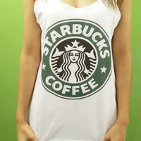 Starbucks Coffee -  Womens Tank Top Side Boob Printed White T Shirt