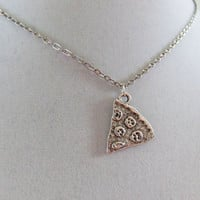 Pizza necklace silver tone metal chain choker or necklace with a junk food slice of pizza charm
