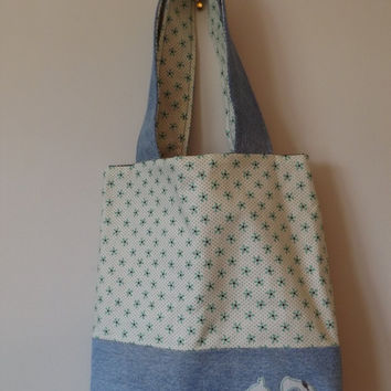 Squirrel Denim Tote Bag