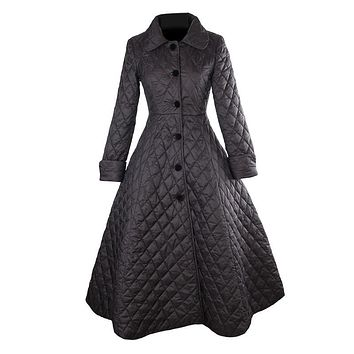 women vintage 50s Audrey Hepburn black quilting peter pan collar long swing coats plus size 4xl trench coat abrigos mujer casaco