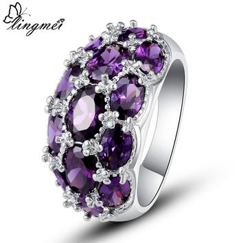 lingmei Wedding Band Christmas Gifts Fashion Oval Purple Cubic Zirconia Silver Color Ring SIZE 7 8 9 10 JEWELRY For Lady Women