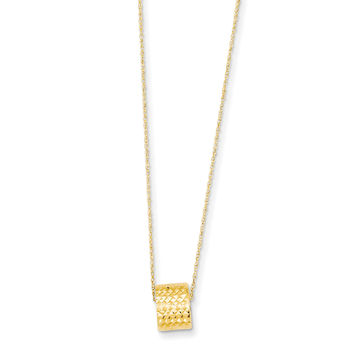 14K Rope Chain w/ Barrel Bead w/ 2in Extension Necklace SF2061
