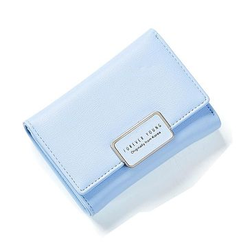Unishow Women Wallet Small Three Fold Women Purse Simple Elegant Printing Letter Female Purse Wallet Luxury Brand Small Wallet