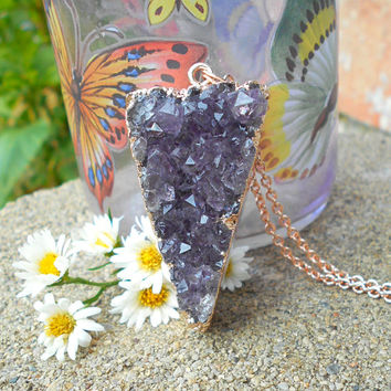 Amethyst Geode necklace, Amethyst druzy, Crystal druzy pendant,Raw crystal, Raw Amethyst necklace, crystal necklace, crystal cluster