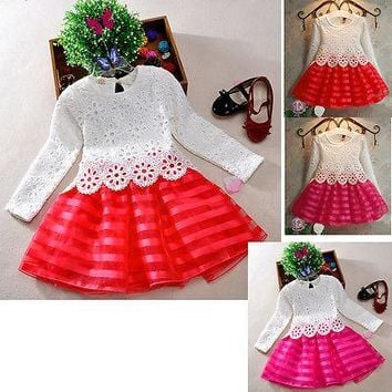 2016 Hot-Selling Baby Kids Girls Crochet Lace Flower Party Dress Princess Long Sleeve Tutu Dress Age 3-8Y 3 Colors