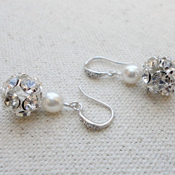Wedding Earrings with Pearl and Rhinestone Fireball, Bridesmaid earrings, Prom earrings, Simple everyday earrings