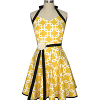 Retro Apron Yellow and White Judy Apron by Two by twodesigndivas