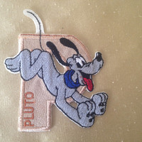 Pluto iron on patch Disney patches Disney embroidery Pluto embroidered patch Pluto applique Letter patch Embroidered patches Kids patches