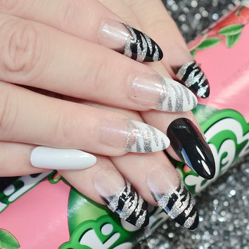 Shimmer Glitter French Artificial Nails Zebra Pattern Black White Medium Fake Nail Art Tips with Point Head Lady Wear Z455
