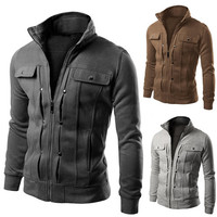 Stand Collar Slim Fit Men's Zip Up Jacket