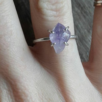 Raw Amethyst Crystal and Sterling Silver Ring - Amethyst Ring - February Birthstone Ring - Purple Stone Ring - Boho Ring - Healing Crystal