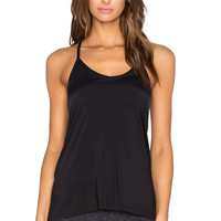 Beyond Yoga Sleek Stripe Crossover Back Tank in Black