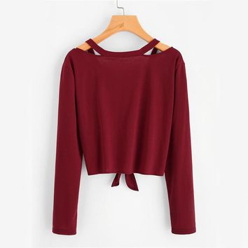 Women Sexy Cut Out V Neck Casual Tops Fashion Long Sleeve Casual Bow Tie Basic T-shirt