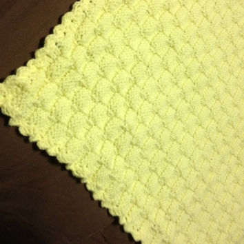 Baby Afghan Yellow Basketweave Stitch Hand Knitted