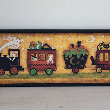 Primitive Folk Art Halloween Hand Painted Tray  - READY TO SHIP - Train with Skeleton, Witch, Green Ooze, Ghost, Punpkinhead, Spiders, Webs