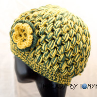 Crochet Bubble Hat - Greenbay Packers, Oakland Athletics, Green and Yellow, Womens Fashion, Winter Accessories - Holiday Gift