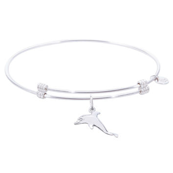 Sterling Silver Alluring Bangle Bracelet With Dolphin Charm