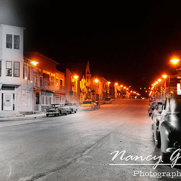Photographic Fine Art Print artwork of a blended old and new image of Main Street Menomonee Falls WI home office decor livingroom art