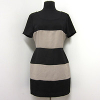 1980s Black and Tan Horizontal Striped BodyCon Dress - Size 4 - Vegan