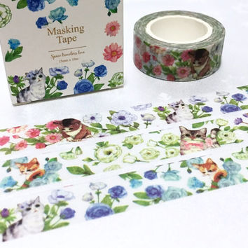 flower cat washi tape 10m x 1.5cm Cute cat kawaii cat four season garden cat masking tape pussy deco tape cat planner diary meow meow gift