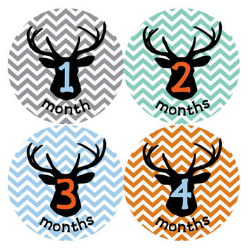 Baby Boy Monthly Stickers Deer Antler Hunter Hunting Chevron Month Stickers Month Baby Stickers Baby Stickers for Deer Hunting Nursery B239