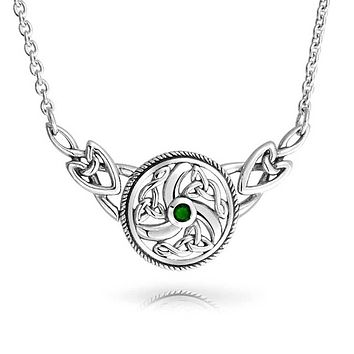 Celtic Knot Kelly Green Circle Necklace Collar 925 Sterling Silver