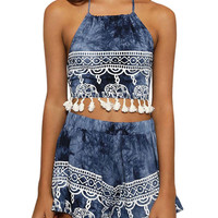 Tie-tye Blue Tassel Top Co-ord In White Pattern Print