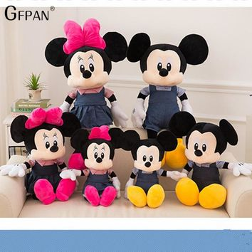 New 1pcs 65cm:50cm  Hot Adorable Mickey Mouse& Minnie Mouse Stuffed Soft Plush Toys High Quality Gifts Classic Toy For Children