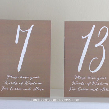 Wedding Table Number Books - Anniversary Number Wedding Books