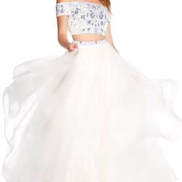 Alyce 60180 White and Blue Floral Print Dress with Full Skirt