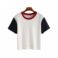 Womens Simple Crop Cotton Tee