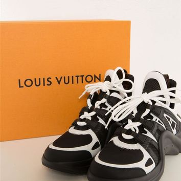 LOUIS VUITTON ARCHLIGHT Black White Futuristic Wave Sneakers 41 NEW IN BOX