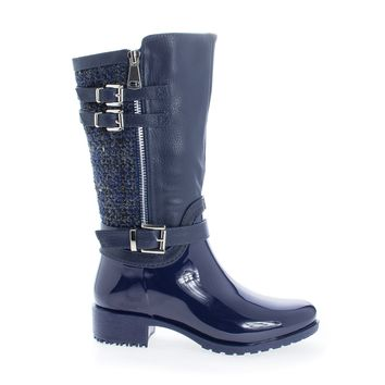 Carrie63K Navy Pvc By Link, PVC Children's Girls Knee High Tweed & Buckle Lug Sole Rain boots