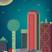 Dallas, Texas Skyline, Wall Art  Poster Print  for Home, Office, and Nursery  - style E8-O-DAL