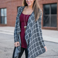 Square 'Em Out Cardigan, Charcoal