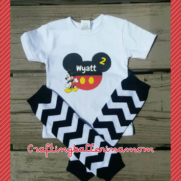 Mickey Mouse Personalized Shirt Onesuit - Mickey Shorts - Disney Vacation- First Birthday - Birthday Number - Name - Mouse Ears - Red -Yellow
