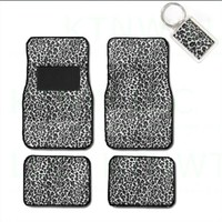 A Set of 4 Universal Fit Animal Print Carpet Floor Mats for Cars / Truck and 1 Key Fob - Cheetah White