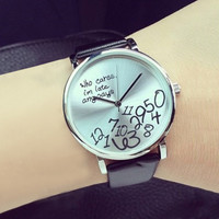2015 Trended Women's Qualified Designed Who Cares Faux Leather Arabic Numerals Letters Printed Watches 6327