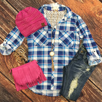 Just a Tease of Lace Plaid Flannel Top: Blue
