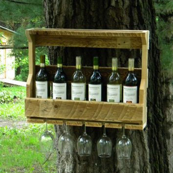 7 Bottle Wine Rack, Repurposed Wood, Reclaimed Wood, Wine Rack, Wall Hanging,
