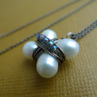 Fresh Water Pearl Clover Silver Necklace by candyamorjewelry