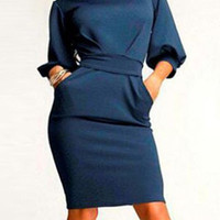 Navy Blue Half Sleeve Bodycon Midi Dress