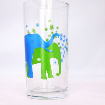 Cute vintage blue and green elephant drinking glass