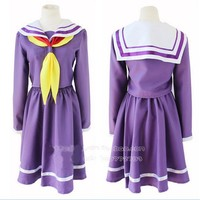No Game No Life Cosplay Shiro Costume Halloween Women Clothes Carival Dress Wig Crown Sailor Suit Anime Japanese School Uniform