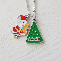 santa claus necklace, stocking stuffer, christmas jewelry, xmas gift, santa jewelry, xmas tree, christmas tree jewelry. silver necklace, bff